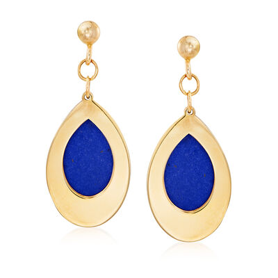 Italian Simulated Lapis Drop Earrings in 14kt Yellow Gold