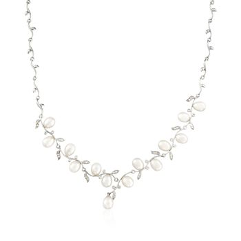 "6.5-7mm Cultured Pearl and .40 ct. t.w. CZ Vine Necklace in Sterling Silver. 18"", , default"