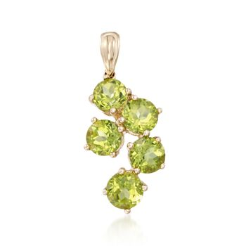 5.00 ct. t.w. Peridot Five-Stone Pendant in 14kt Yellow Gold, , default