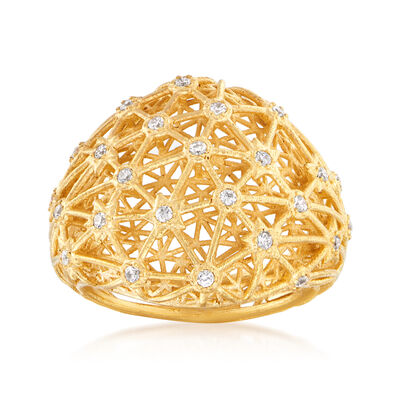 Italian .25 ct. t.w. CZ Ring in 18kt Gold Over Sterling, , default