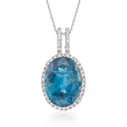 "11.00 Carat London Blue Topaz and .67 ct. t.w. Diamond Pendant in 14kt White Gold. 18"", , default"