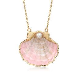 Cultured Pearl and Pink Enamel Seashell Necklace in 14kt Yellow Gold, , default