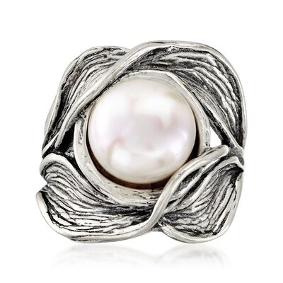 11mm Cultured Pearl Floral Ring in Sterling Silver, , default