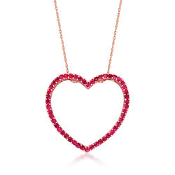 C. 1990 Vintage 1.50 ct. t.w. Pink Sapphire Heart Pendant Necklace in 14kt Yellow Gold, , default