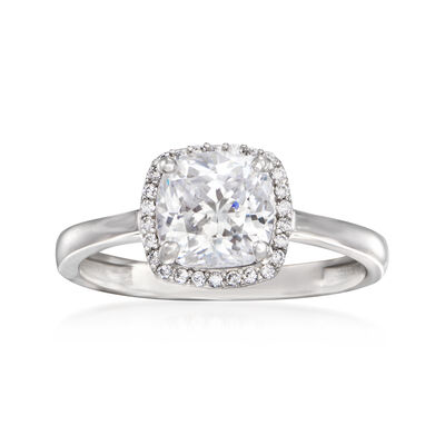 2.10 ct. t.w. CZ Square Halo Ring in 14kt White Gold, , default