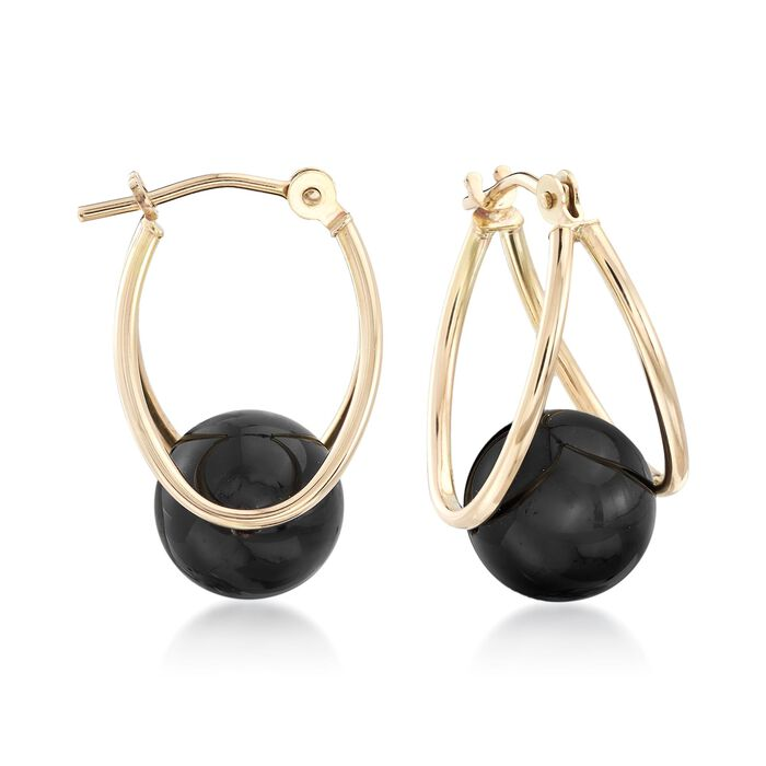 Black Onyx Double-Hoop Earrings in 14kt Yellow Gold. 3/4""