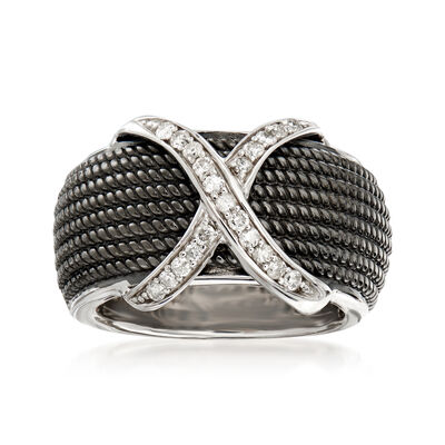 .25 ct. t.w. Diamond X Ring in Sterling Silver and Black Rhodium, , default