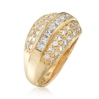 C. 1990 Vintage 1.60 ct. t.w. Diamond Ring in 18kt Yellow Gold. Size 8, , default
