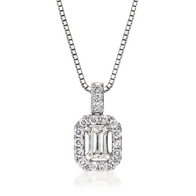 C. 1990 Vintage .91 ct. t.w. Diamond Pendant Necklace in 18kt White Gold