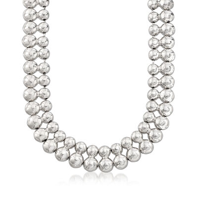 Italian Sterling Silver Beaded Double-Row Collar Necklace, , default