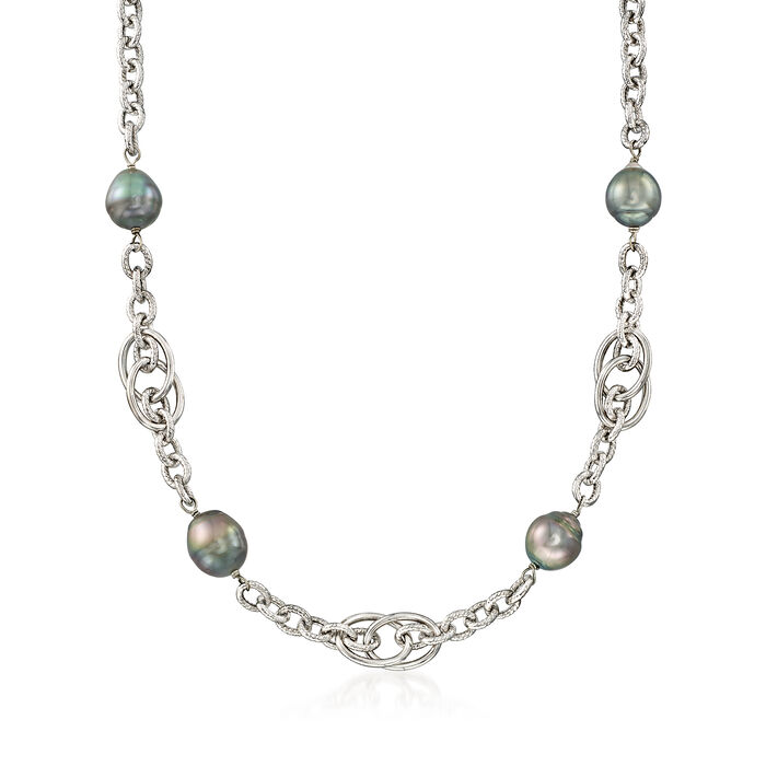 10-11mm Cultured Tahitian Pearl Chain Necklace in Sterling Silver