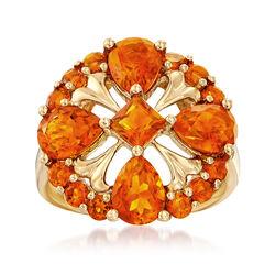 3.80 ct. t.w. Orange Citrine Ring in 14kt Yellow Gold, , default