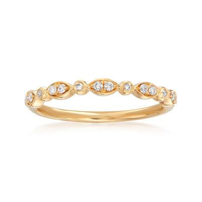 Henri Daussi .11 ct. t.w. Diamond Wedding Ring in 18kt Yellow Gold, , default