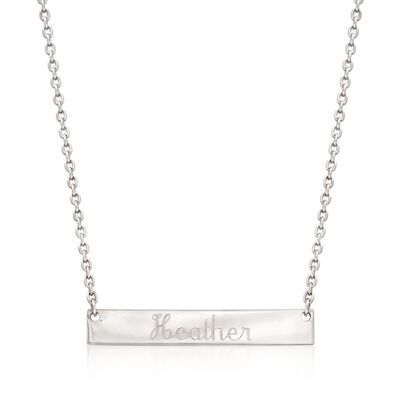 Sterling Silver Script Name Bar ID Necklace, , default