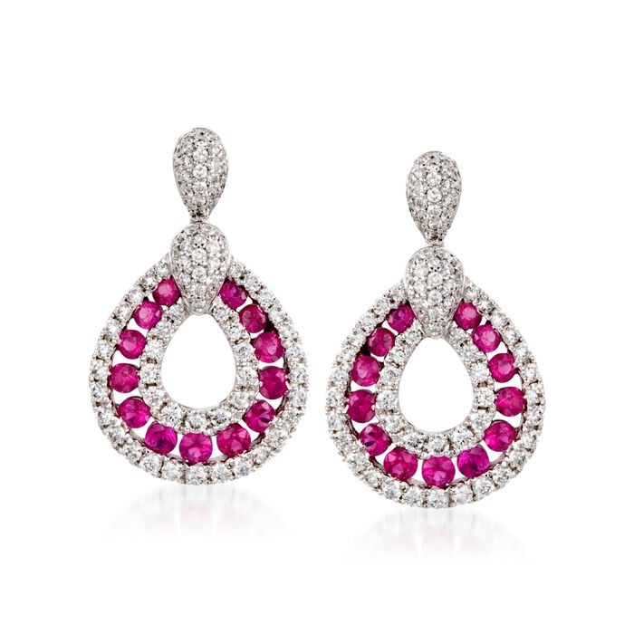 Gregg Ruth .70 ct. t.w. Ruby and .70 ct. t.w. Diamond Earrings in 18kt White Gold, , default