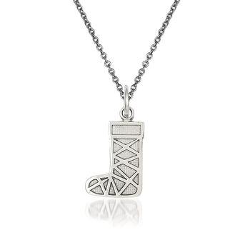 "14kt White Gold Christmas Stocking Pendant Necklace. 18"", , default"