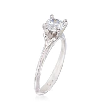 Gabriel Designs 14kt White Gold Four-Prong Solitaire Engagement Ring Setting, , default