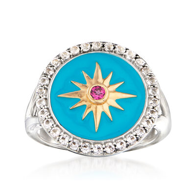 .50 ct. t.w. White Topaz and Enamel Star Ring with Rhodolite Garnet Accent in Sterling Silver and 18kt Gold Over Sterling