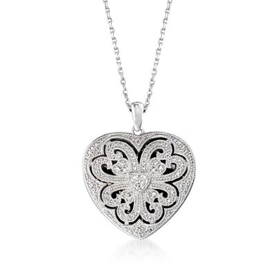 Sterling Silver Scrolled Heart Locket Necklace with Diamond Accents, , default