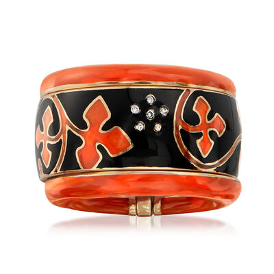 C. 1990 Vintage Nouvelle Bague Black and Red Enamel Flower Ring with Diamond Accents in 18kt Yellow Gold, , default