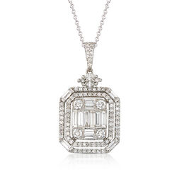 2.15 ct. t.w. Diamond Mosaic Pendant Necklace in 18kt White Gold, , default