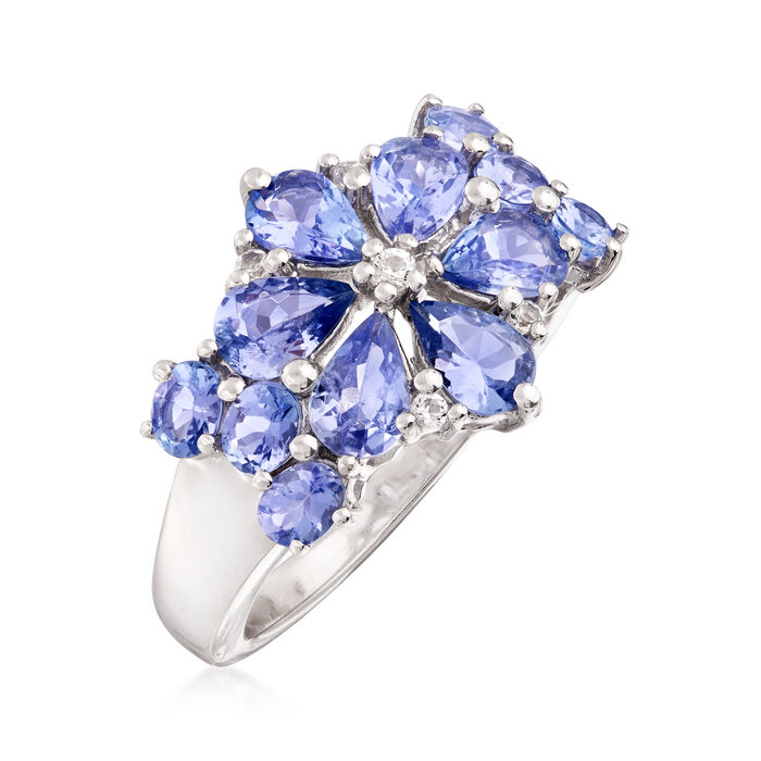 3.10 ct. t.w. Tanzanite and .10 ct. t.w. White Topaz Floral Ring in Sterling Silver