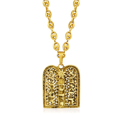 C. 1980 Vintage 14kt Yellow Gold Ten Commandments Pendant Necklace