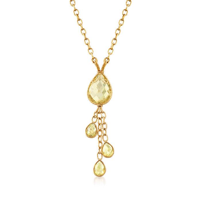 """C. 1990 Vintage 14.40 ct. t.w. Lemon Quartz Drop Necklace in 14kt Yellow Gold. 18.25"""", , default"""