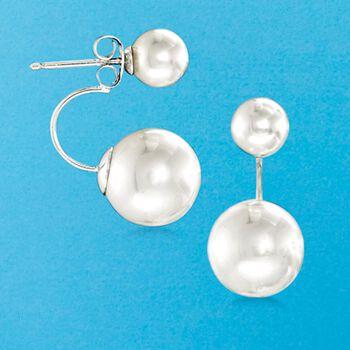 6.5-12.5mm Shell Pearl Front-Back Earrings in Sterling Silver, , default