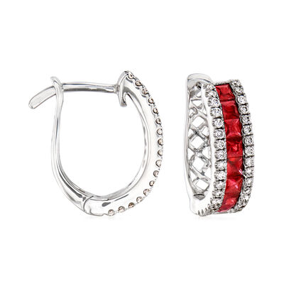 .70 ct. t.w. Ruby and .25 ct. t.w. Diamond Huggie Hoop Earrings in 18kt White Gold