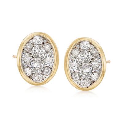 1.00 ct. t.w. Diamond Cluster Stud Earrings in 14kt Yellow Gold, , default