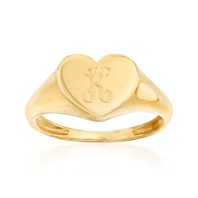 Italian 14kt Yellow Gold Single-Initial Heart Ring
