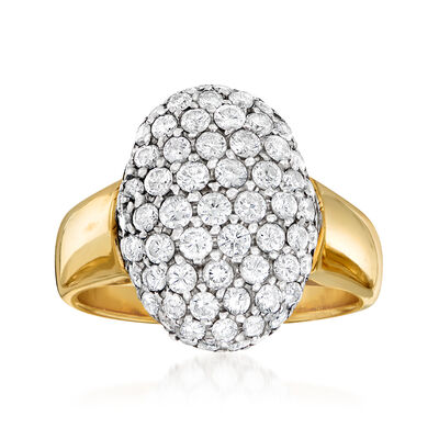 C. 1970 Vintage 2.15 ct. t.w. Pave Diamond Ring in 18kt Yellow Gold, , default
