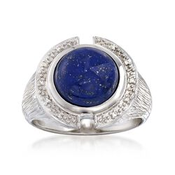 Lapis Ring With Diamond Accents in Sterling Silver, , default