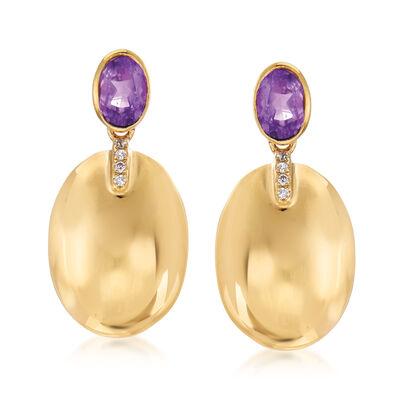 .90 ct. t.w. Amethyst Drop Earrings in 14kt Yellow Gold, , default