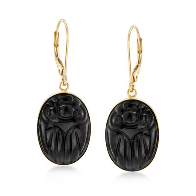 Black Onyx Scarab Drop Earrings in 14kt Yellow Gold, , default