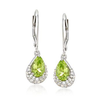 2.00 ct. t.w. Peridot and .44 ct. t.w. White Zircon Drop Earrings in Sterling Silver, , default