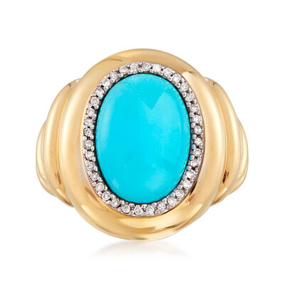 C. 1980 Vintage Turquoise and .15 ct. t.w. Diamond Ring in 14kt Yellow Gold, , default