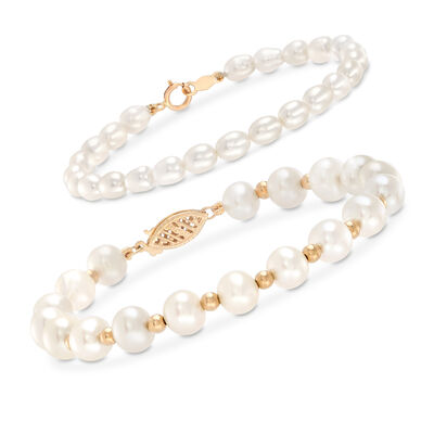 Mom & Me 4-7mm Cultured Pearl Bracelet Set of 2 in 14kt Yellow Gold, , default