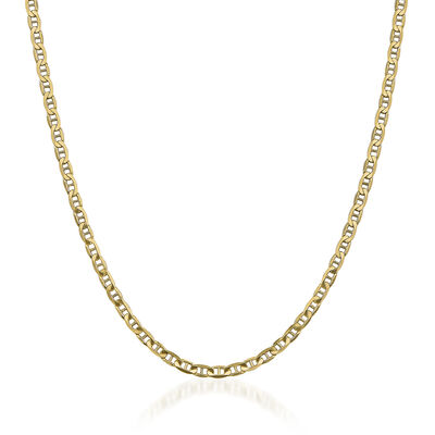 "Men's 3.7mm 14kt Yellow Gold Concave Anchor Chain Necklace. 18"", , default"