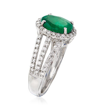 3.00 Carat Emerald and .81 ct. t.w. Diamond Triple-Shank Ring in 18kt White Gold