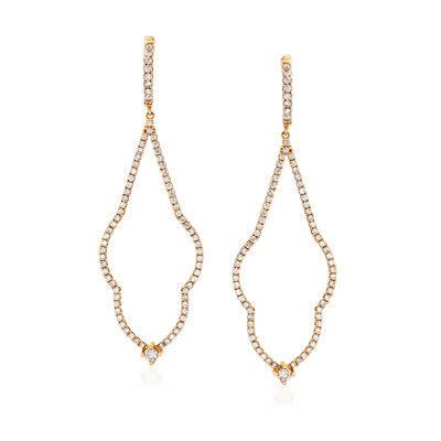 C. 2000 Vintage 1.35 ct. t.w. Diamond Drop Earrings in 14kt Yellow Gold, , default