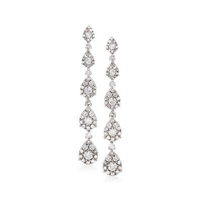 2.18 ct. t.w. Diamond Linear Teardrop Earrings in 14kt White Gold, , default