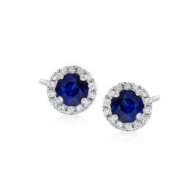 .50 ct. t.w. Sapphire and .15 ct. t.w. Diamond Halo Earrings in 14kt White Gold, , default