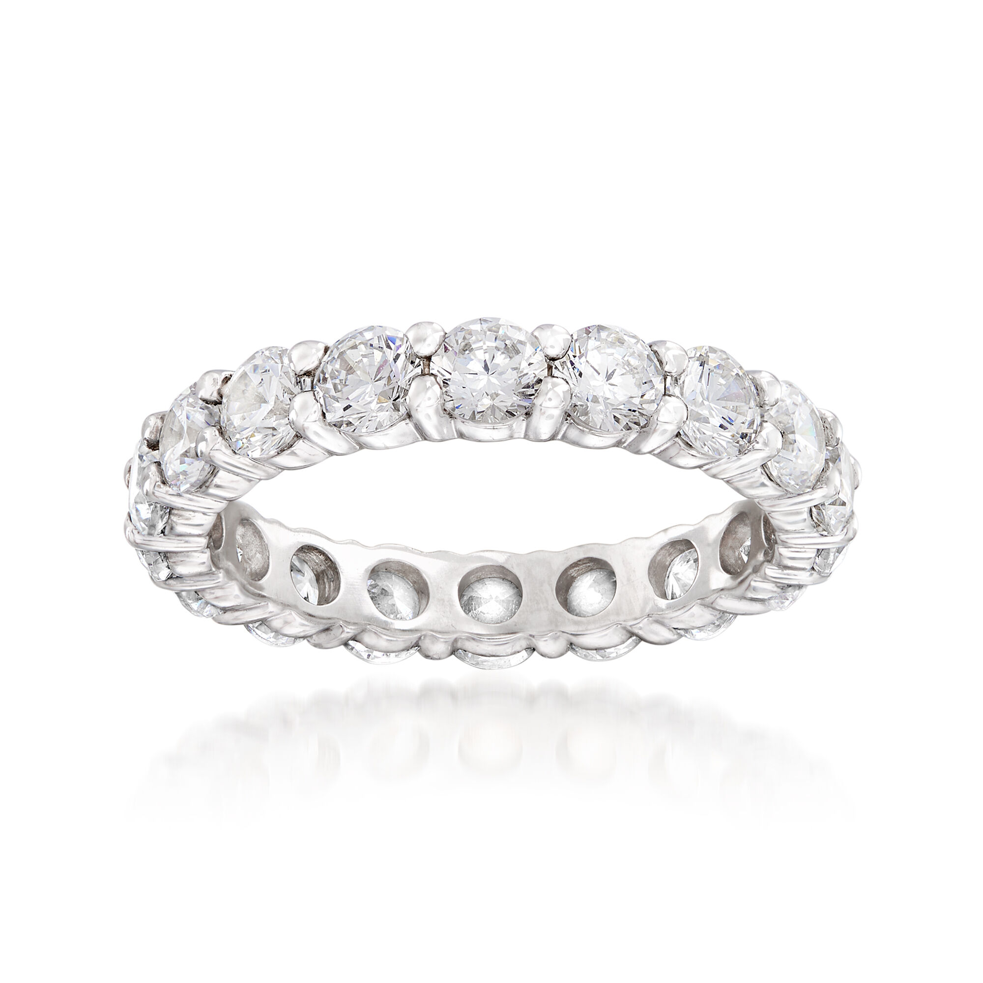 CloseoutWarehouse Clear Cubic Zirconia Cutout X Eternity Band Ring Sterling Silve