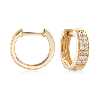 .28 ct. t.w. Diamond Huggie Hoop Earrings in 14kt Yellow Gold , , default