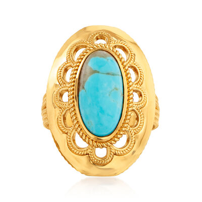 Kingman Turquoise Ring in 18kt Gold Over Sterling
