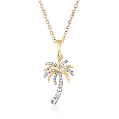 .10 ct. t.w. Diamond Palm Tree Pendant Necklace in 14kt Yellow Gold, , default