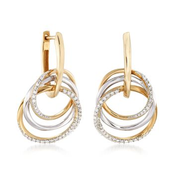 .31 ct. t.w. Diamond Triple-Circle Earrings in 14kt Two-Tone Gold