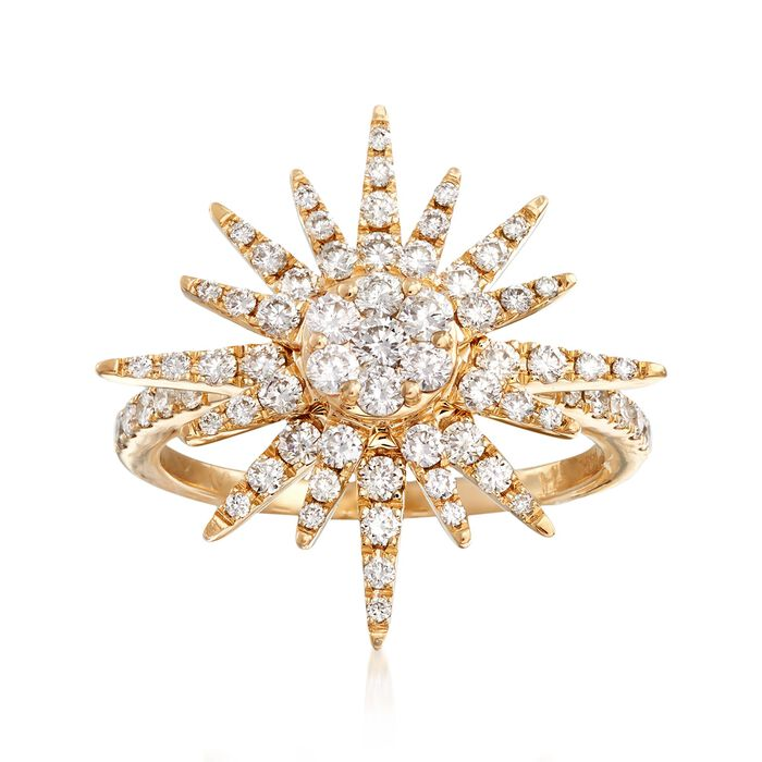 1.00 ct. t.w. Diamond Starburst Ring in 14kt Yellow Gold, , default